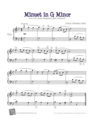 Thumbnail of first page of Minuet in G Minor piano sheet music PDF by Bach.