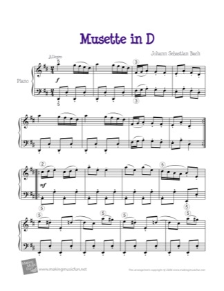 Thumbnail of first page of Musette in D (Intermediate) piano sheet music PDF by Bach.