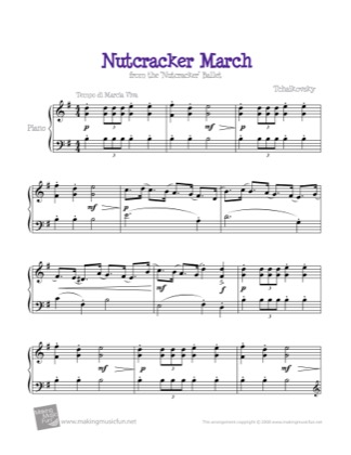Thumbnail of first page of March from the Nutcracker piano sheet music PDF by Kids.