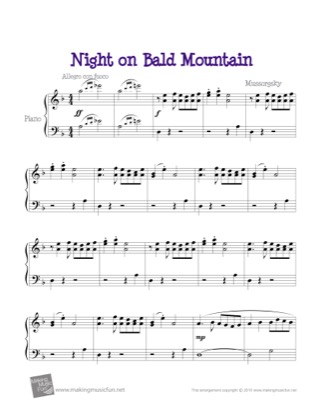 Thumbnail of first page of Night on Bald Mountain piano sheet music PDF by Kids.