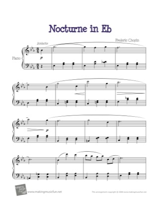 Thumbnail of first page of Nocturne in E Flat piano sheet music PDF by Kids.