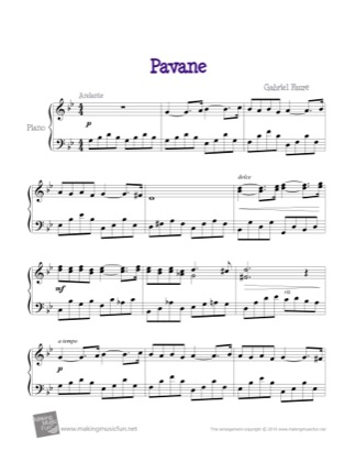 Thumbnail of first page of Pavane Op. 50 piano sheet music PDF by Gabriel Faure.