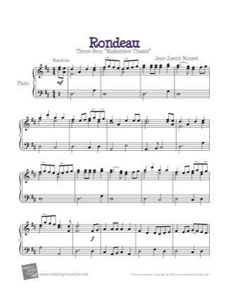 Thumbnail of first page of Rondeau (Masterpiece Theater) piano sheet music PDF by Kids.