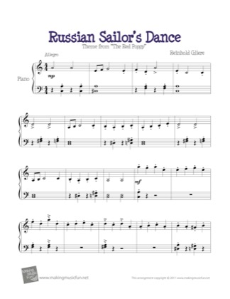 Thumbnail of first page of Russian Sailor's Dance piano sheet music PDF by The Red Poppy.
