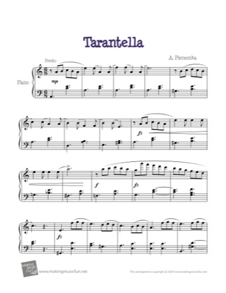 Thumbnail of first page of Tarantella piano sheet music PDF by A. Pieczonka.