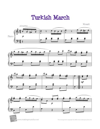 Thumbnail of first page of Turkish March piano sheet music PDF by Bach.