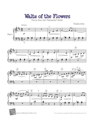 Thumbnail of first page of Waltz of the Flowers (The Nutcracker) piano sheet music PDF by Tchaikovsky.