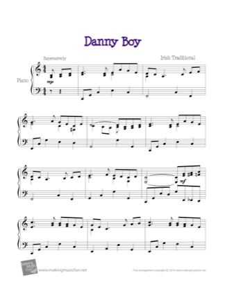 Thumbnail of first page of Danny Boy piano sheet music PDF by Traditional.