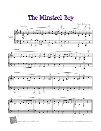 Thumbnail of first page of The Minstrel Boy piano sheet music PDF by Kids.