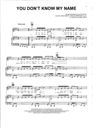 Thumbnail of first page of You Don't Know My Name piano sheet music PDF by Alicia Keys.