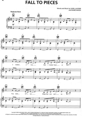 Thumbnail of first page of Fall To Pieces piano sheet music PDF by Avril Lavigne.