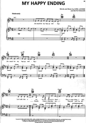 Thumbnail of first page of My Happy Ending piano sheet music PDF by Avril Lavigne.