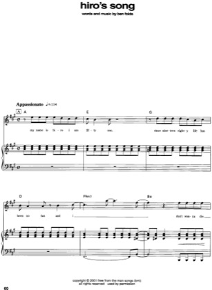 Thumbnail of first page of Hiro's Song piano sheet music PDF by Ben Folds.
