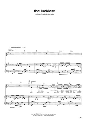 Thumbnail of first page of The Luckiest piano sheet music PDF by Ben Folds.