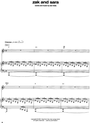 Thumbnail of first page of Zak and Sara piano sheet music PDF by Ben Folds.
