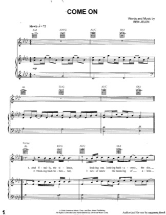Thumbnail of first page of Come On piano sheet music PDF by Ben Jelen.