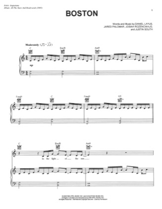 Thumbnail of first page of Boston piano sheet music PDF by Augustana.