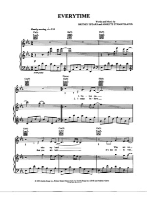 Thumbnail of first page of Everytime piano sheet music PDF by Britney Spears.