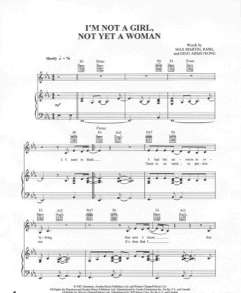 Thumbnail of first page of I'm Not A Girl, Not Yet A Woman piano sheet music PDF by Britney Spears.