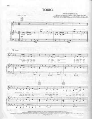 Thumbnail of first page of Toxic piano sheet music PDF by Britney Spears.