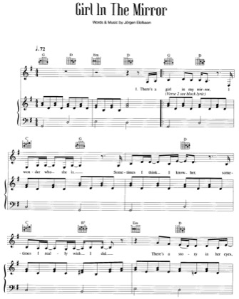 Thumbnail of first page of Girl In The Mirror piano sheet music PDF by Britney Spears.