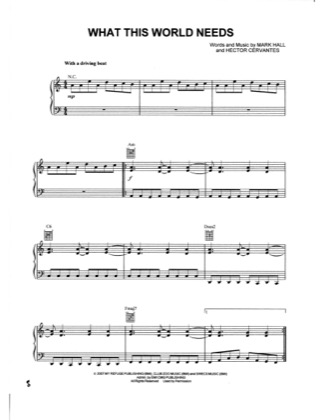 Thumbnail of first page of What This World Needs piano sheet music PDF by Casting Crowns.
