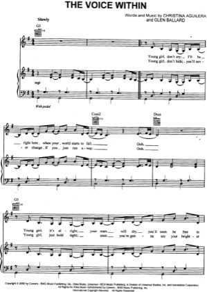 Thumbnail of first page of The Voice Within piano sheet music PDF by Christina Aguilera.