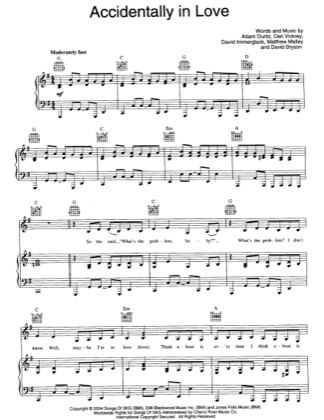 Thumbnail of first page of Accidentally In Love piano sheet music PDF by Counting Crows.