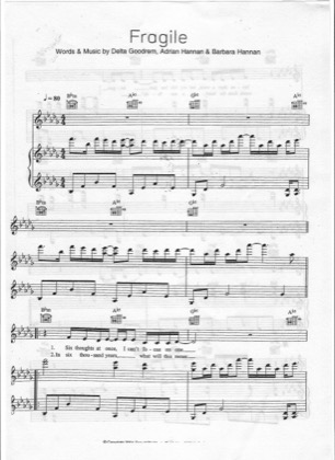 Print and download for free: Fragile piano sheet music by Delta Goodrem.