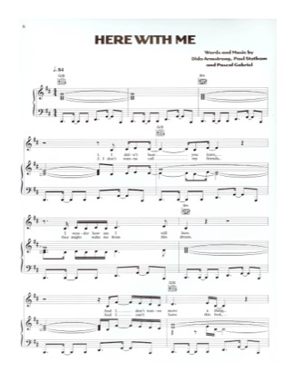 Thumbnail of first page of Here With Me piano sheet music PDF by Dido.