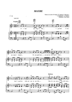 Thumbnail of first page of Maybe piano sheet music PDF by Enrique Iglesias.