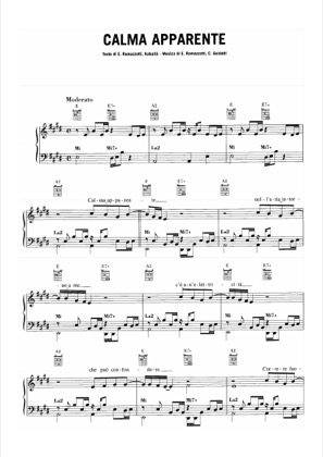 Thumbnail of first page of Calma Apparente piano sheet music PDF by Eros Ramazzotti.