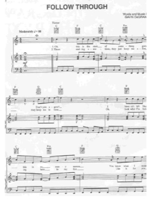 Thumbnail of first page of Follow Through piano sheet music PDF by Gavin Degraw.