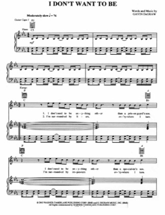 Thumbnail of first page of I Don't Want To Be piano sheet music PDF by Gavin Degraw.