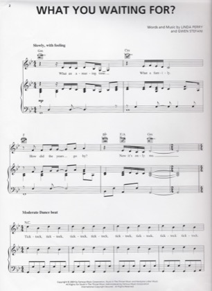 Thumbnail of first page of What You Waiting For piano sheet music PDF by Gwen Stefani.