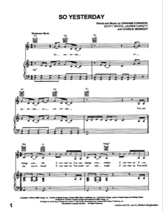 Thumbnail of first page of So Yesterday piano sheet music PDF by Hilary Duff.