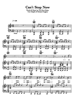 Thumbnail of first page of Can't Stop Now piano sheet music PDF by Keane.