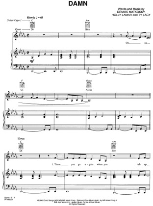 Thumbnail of first page of Damn piano sheet music PDF by LeAnn Rimes.