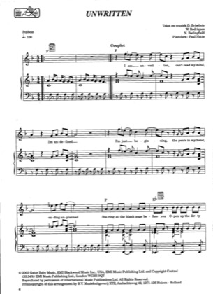 Thumbnail of first page of Unwritten piano sheet music PDF by Natasha Bedingfield.