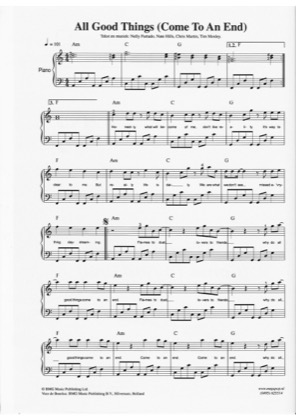 Thumbnail of first page of All good Things piano sheet music PDF by Nelly Furtado.