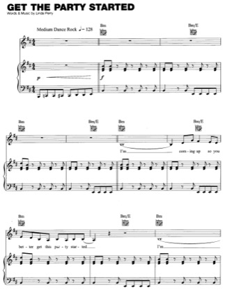 Thumbnail of first page of Get The Party Started piano sheet music PDF by Pink.