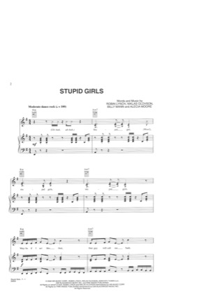 Thumbnail of first page of Stupid Girls piano sheet music PDF by Pink.