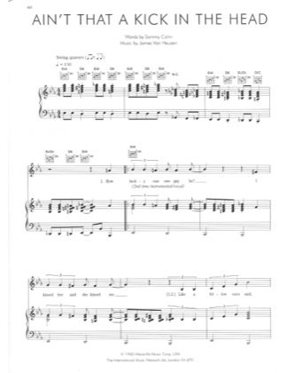 Thumbnail of first page of Ain't That A Kick in The Head piano sheet music PDF by Robbie Williams.