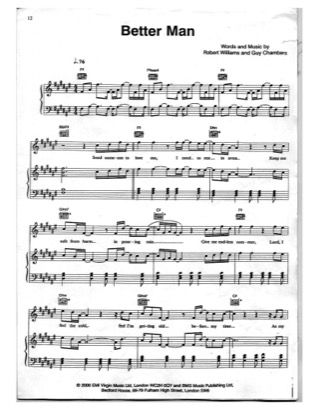 Thumbnail of first page of Better Man piano sheet music PDF by Robbie Williams.