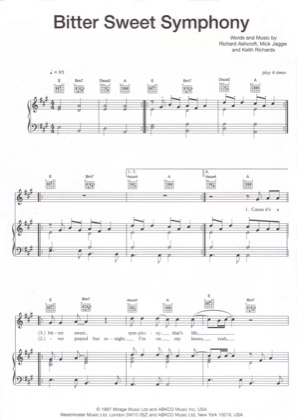 Thumbnail of first page of Bittersweet Symphony piano sheet music PDF by The Verve.