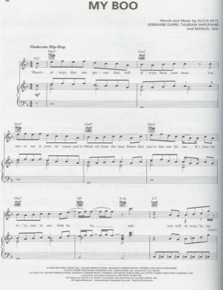 Thumbnail of first page of My Boo (ft. Alicia Keys) piano sheet music PDF by Usher.
