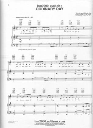 Thumbnail of first page of Ordinary Day piano sheet music PDF by Vanessa Carlton.