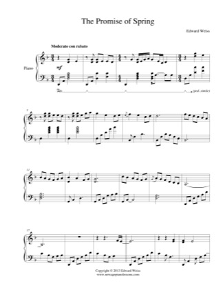 Thumbnail of first page of Thr Promise of Spring piano sheet music PDF by Edward Weiss.