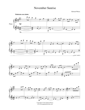 Thumbnail of first page of November Sunrise piano sheet music PDF by Edward Weiss.