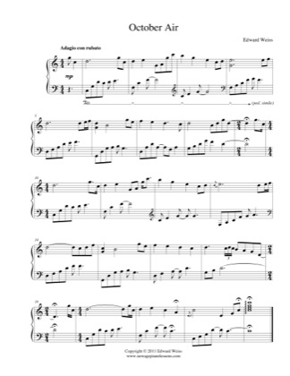 Thumbnail of first page of October Air piano sheet music PDF by Edward Weiss.